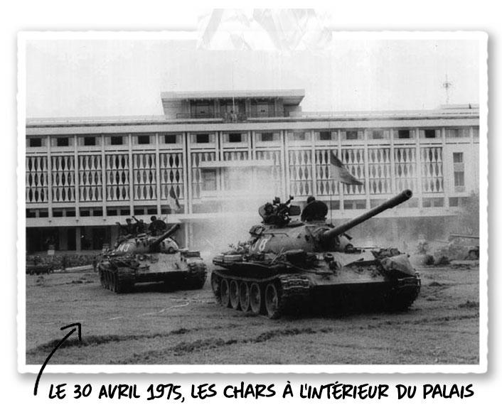 Les chars lors de la chute de Saïgon le 30 Avril 1975