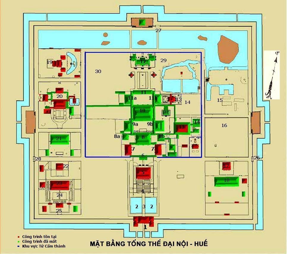 Carte cité impériale de Hué