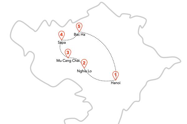 L'itinéraire de la boucle à moto de Sapa
