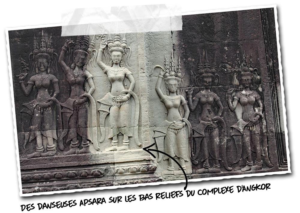 Danseuses Apsara sur les bas reliefs du complexe d'Angkor Wat